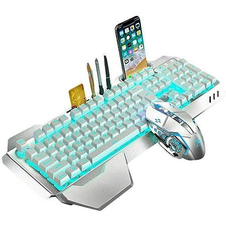 LexonElec Wireless 2.4G Teclado recargable Mouse Mouse Set 3000mAh Gran capacidad Mecánica Teclado retroiluminado Rainbow Gamer 2400DPI 7 colores ...
