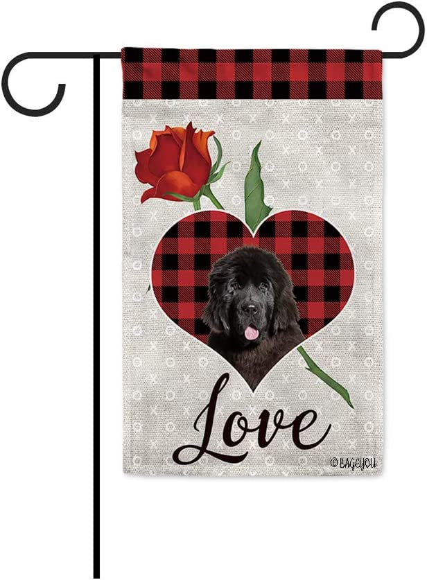 BAGEYOU Love for You Dog Garden Flag Newfoundland Buffalo Check Plaid Rose Heart Decor Home Banner for Outside 12.5x18 Inch Print Both Sides