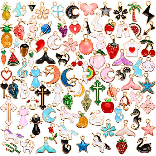Hicarer 90 Pieces Assorted Gold Plated Enamel Dangle Charm Pendant for Jewelry Making (Style 2)
