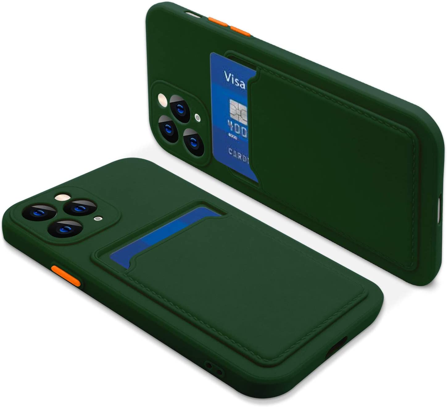 Naiadiy Silicone Case with Card Holder Compatible with iPhone 11 Pro Max 6.5 Inch - Dark Green