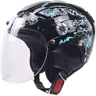 BBJZQ Open Face Half Helmet,Vintage Harley Jet-Helmet with Adjustable Windshield,Bike Cruiser Moped Scooter Retro Crash Helmet Switchable Vent Design,DOT/ECE Certification Unisex