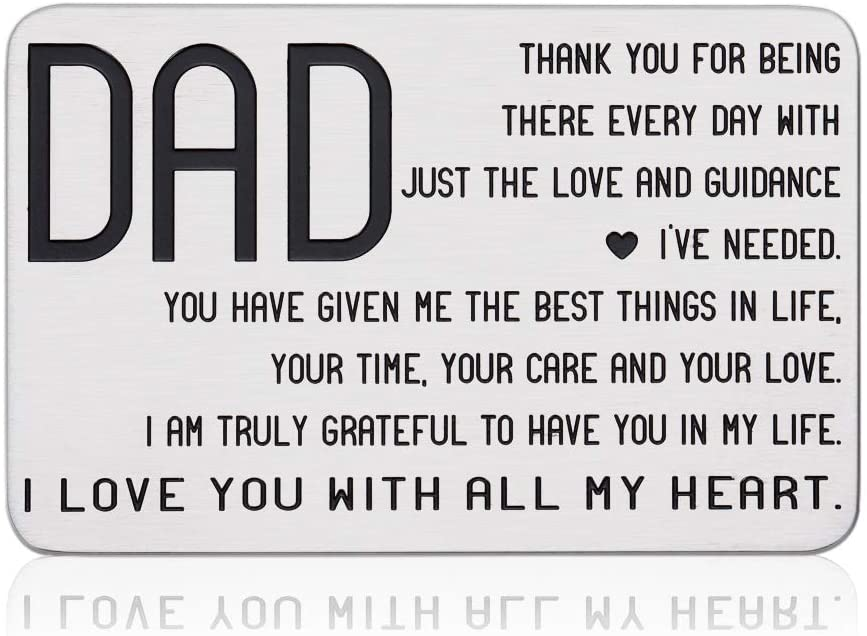 Engraved Wallet Insert Card to Dad from Son Daughter Birthday Appreciation Christmas Gift for Papa Stepdad New Dad to Be Father-in-law Fathers Day Thanksgiving Just Because Present for Him Men