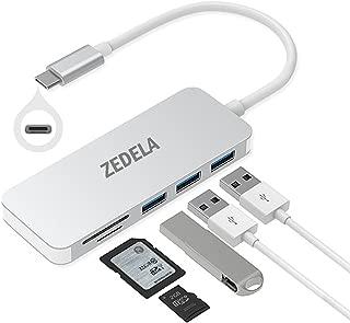 Type c ハブ, zedela 5-in-1 USB-Cハブ【3ポート5Gbps usb3.0 ハブ+2ポート超高速microSD/SDカードリーダー】タイプC 変換 アダプタカードリーダーはiphone、iPad、MacBook Pro/Air (2018/2017)、ChromeBookと互換性があります (グレー)