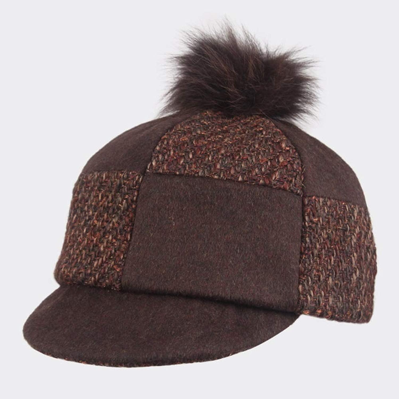 GLJF トップ帽子、秋と冬の帽子女性ベレーファッショントレンドレトロ帽子野球帽