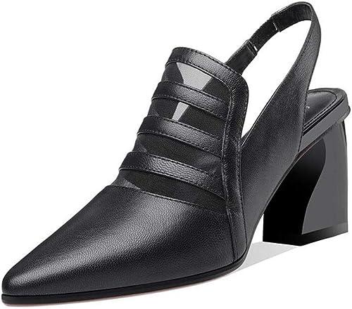 DALL zapatos Sandalias mujeres plataforma En Punta zapatos Solos Tacones Cómodos Sandalias De Moda (Color   negro, Talla   EU 36 UK 4 CN 36)