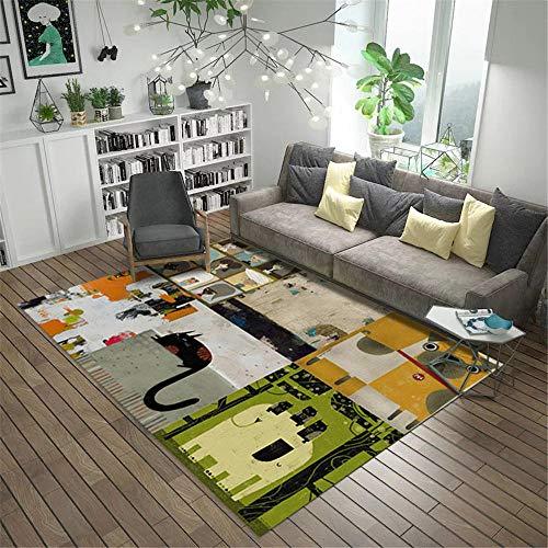 Kunsen Resistente al Desgaste Alfombra Alfombra de decoración de Sala de Estar de Graffiti de Tinta Moderna Gris Verde Amarillo Suave Interior Suelo Alfombras 200 * 300cm
