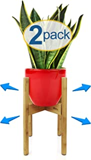 eXuby - 2-Pack Adjustable Wooden Plant Stands Indoor & Outdoor - Bamboo Construction in Mid-Century Design - Fits Pots 8.5