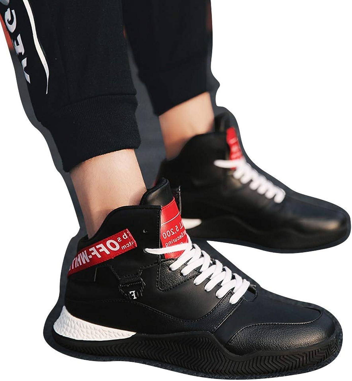 Easy Go Shopping High To Help Men's White shoes shoes Men's Spring Men's shoes Cricket shoes (color   Black, Size   40)