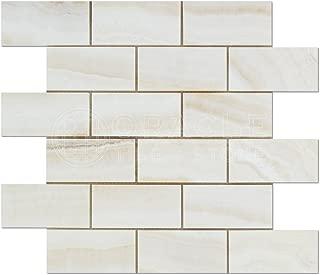 Premium White Onyx VEIN-CUT 2 X 4 Polished Brick Mosaic Tile - SAMPLE