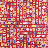 Henry Glass Baumwoll-Stoff, Motiv Flugzeug fliegende Worte,