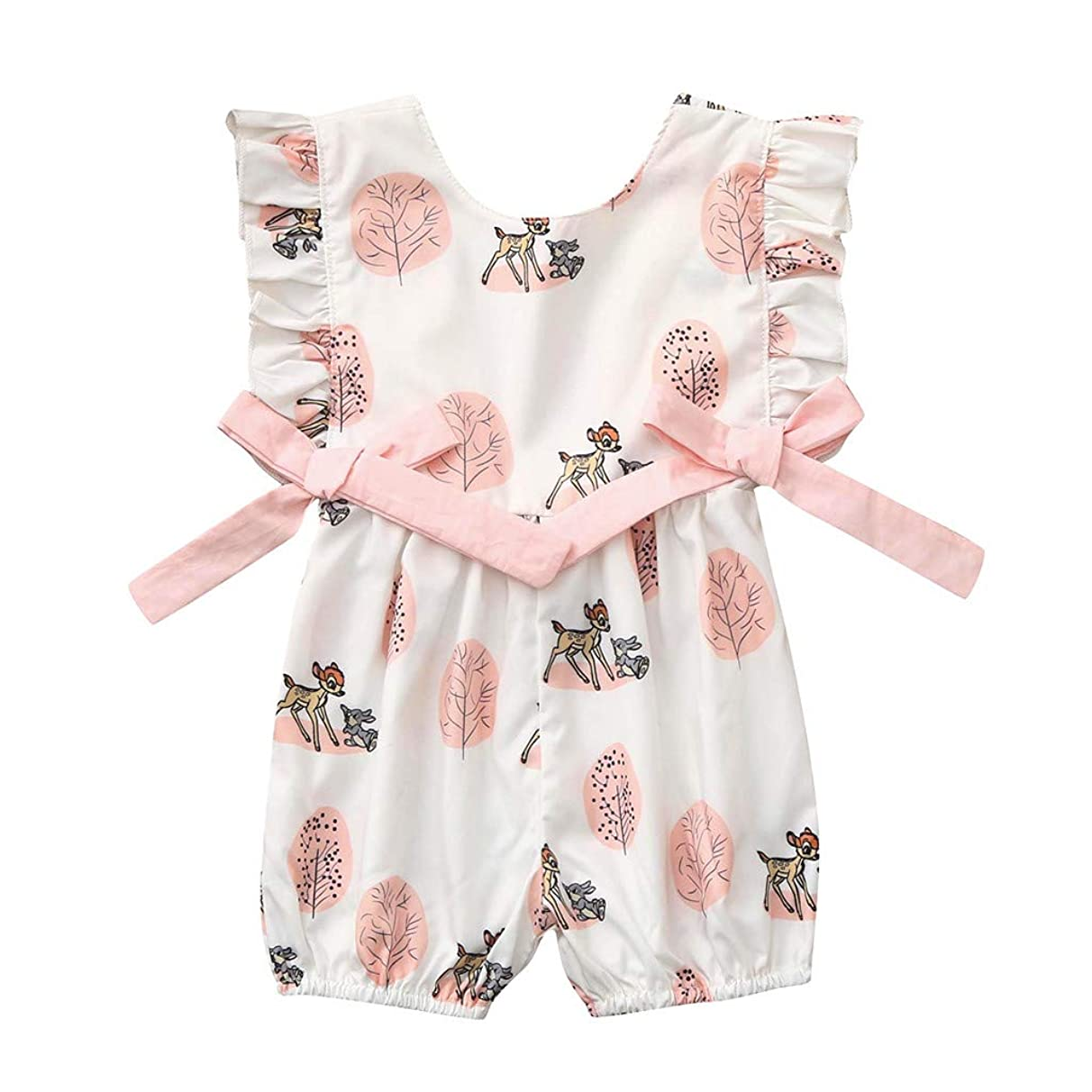 Tomppy Newborn Infant Baby Boy Girl Romper Bow Cartoon Deer Bodysuits Onesies Summer Sleeveless Jumpsuit Clothes Outfits