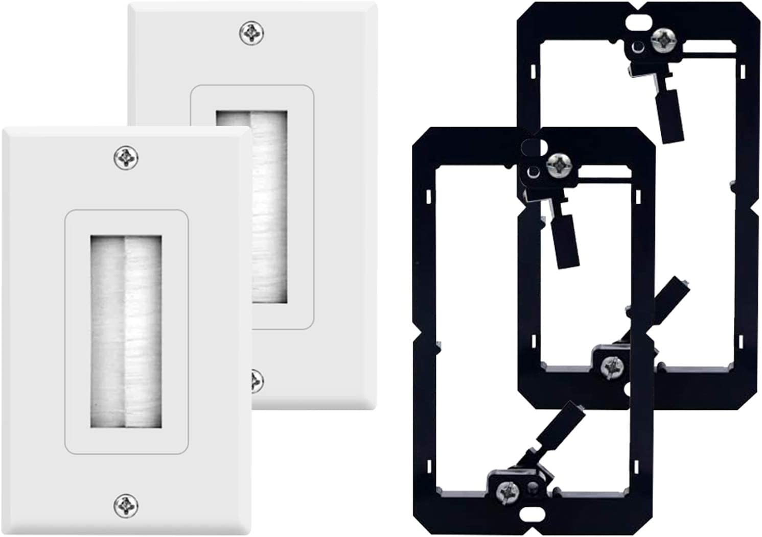 2-Pack Brush Wall Plate with Dealing full price reduction Single Mounting Ranking TOP3 Br Voltage Low Gang