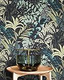 NEWROOM Tapete Schwarz Vliestapete Dschungel - Dschungeltapete Floral Grün Blumen Blätter Blumentapete Tropisch Mustertapete inkl. Tapezier-Ratgeber