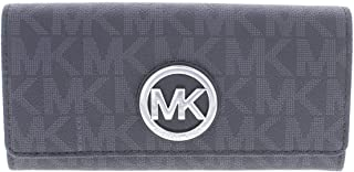MICHAEL Michael Kors Womens Fulton Faux Leather Carryall Clutch Wallet Black O/S