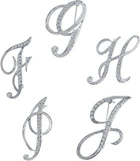 Vivilly English Letters Silver Plated Metal Clear AAA+ Crystal Lapel Pin Brooches Collar Party Gifts (K+L+M+N+O)