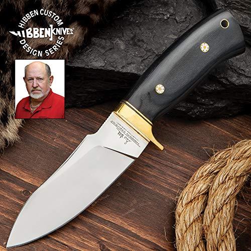 Hibben Chugach Hunter Knife with Sheath - 5Cr13 Stainless Steel Blade, Pakkawood Handle, Brass Hand Guard, Rosette Accents - Length 8 7/8'