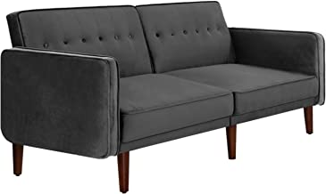 Artiss 3-Seater Premium Velvet Upholstery Sofa Bed, Minimalist Recliner Couch Bed, Grey