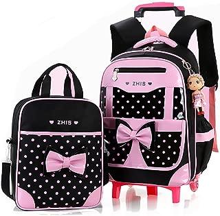 Girls Rolling Backpack for Kids School Backpack with Wheels Roller Backpack on Wheels for Girls