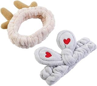 Women Fashion Soft Flannel Bow Hair Band and Elk Headband Makeup Cosmetic Shower Elastic Headbands 2Pcs