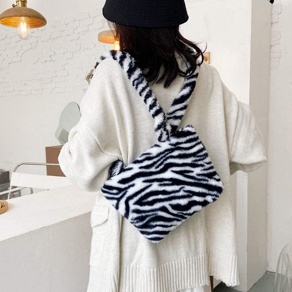 SOIMISS Zebra-Stripe Shoulder Bag Leopard Print Crossbody Purse Faux Fur Messenger Bag Girl Handbag Clutch Bag Wallet for Winter Oto/ño Blanco