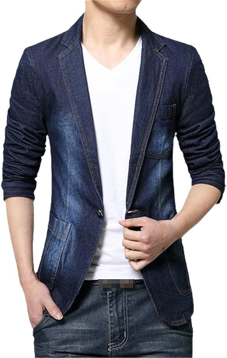 DFLYHLH Men's Suit Jeans Slim Denim Jacket Casual Suit Denim Jacket Single Button