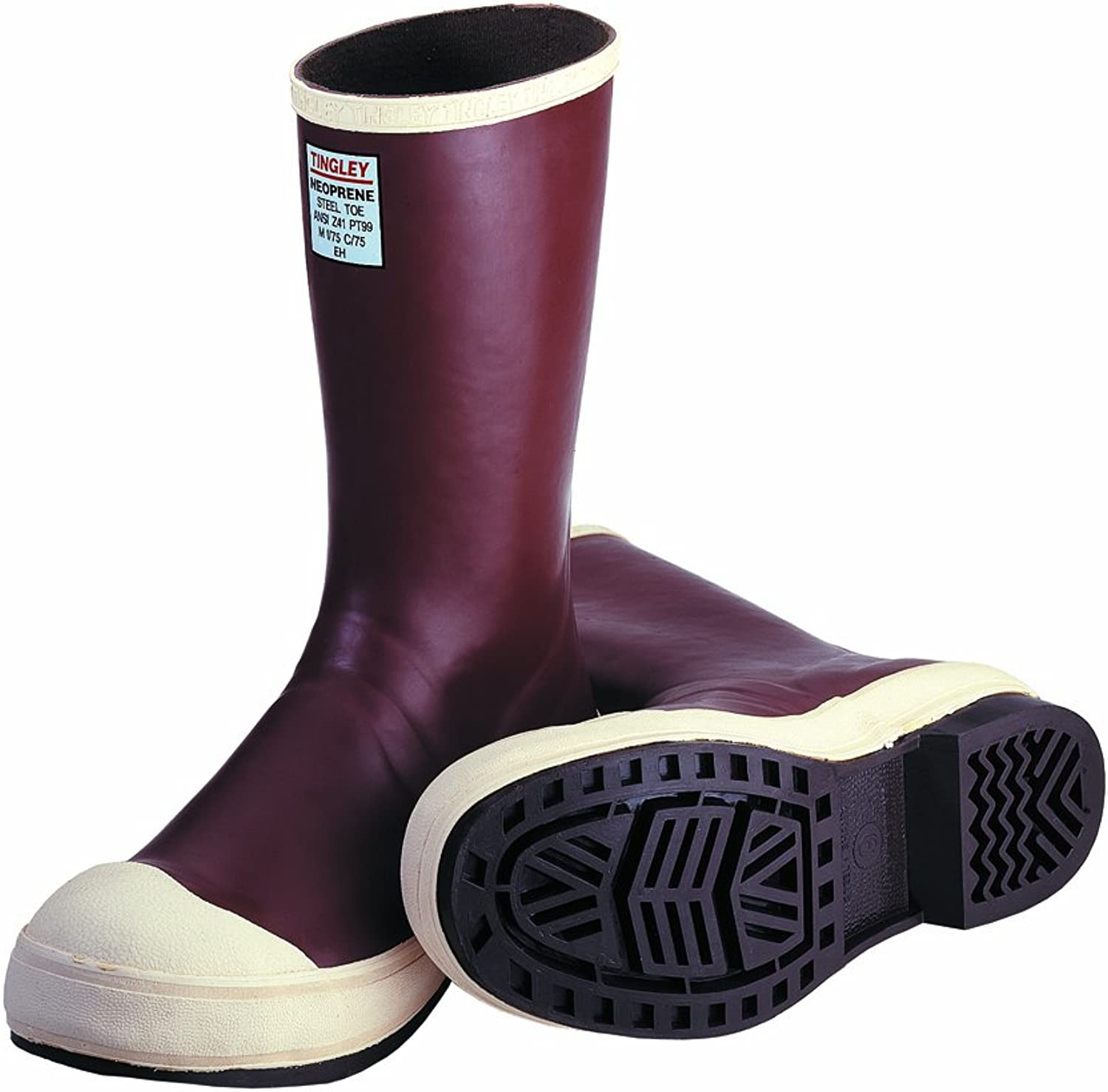 TINGLEY MB922B.12 12-1 2  Chevron Outsole Neoprene Boot with Fabric Liner Plain Toe, Size 12, Brick Red Brown