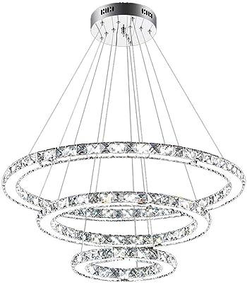 BOOHR 72W LED de la lámpara de la luz de techo de diseño de cristal Lámpara colgante 3 anillos lámpara colgante Blanca Fría 6000k - 6500K for Comedor Salón Dormitorio Sala de Estudio [Clase energética
