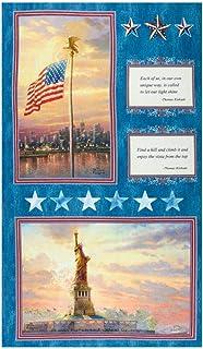 Thomas Kinkade America America 24`` Panel Blue/Multi Fabric