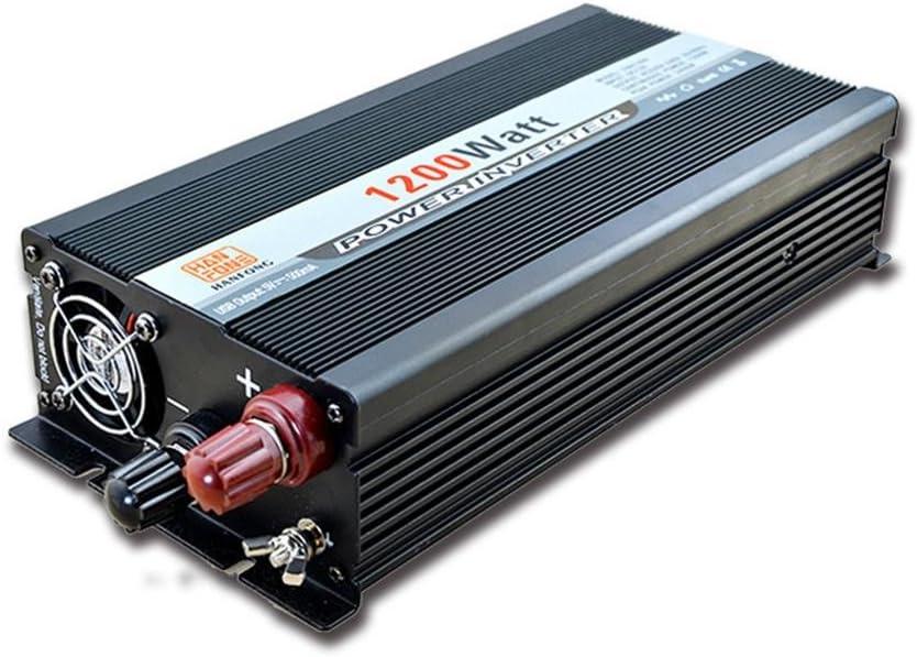 Inversor@1200 W Convertidor DC 12V a la toma de CA 220V Fuente de alimentación con adaptador de encendedor de cigarrillos (Negro)