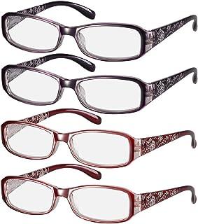 4 PCS Women Spring Reading Glasses, Hinge Eye wear Print Flower +1.00~+4.0 Diopter Vision Care Eyeglasses Reading Glasses (Strength 400, 2color(4pcs))
