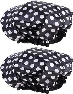 Solustre 2pcs Reusable Bath Cap Waterproof Bath Hat for Women Mens Caps Double Layer EVA Bath Accessories (Pattern 2)