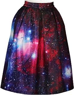 Winnie's Labby® [Comfy] Women 3D Digital Print Knee Length High Waist Swing Skirt
