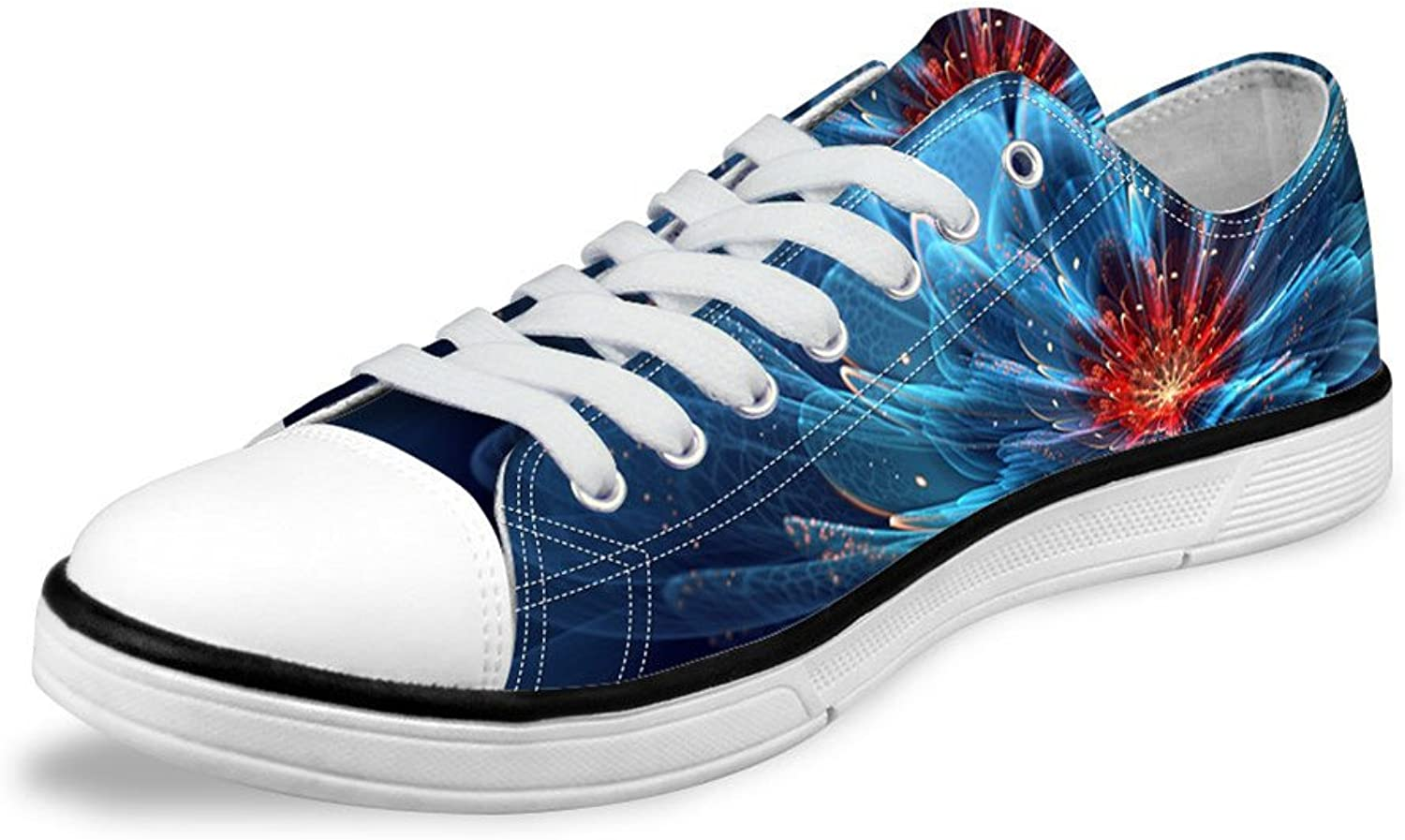 Micandle Womens Fashion Floral Print Low Top Canvas Sneaker shoes
