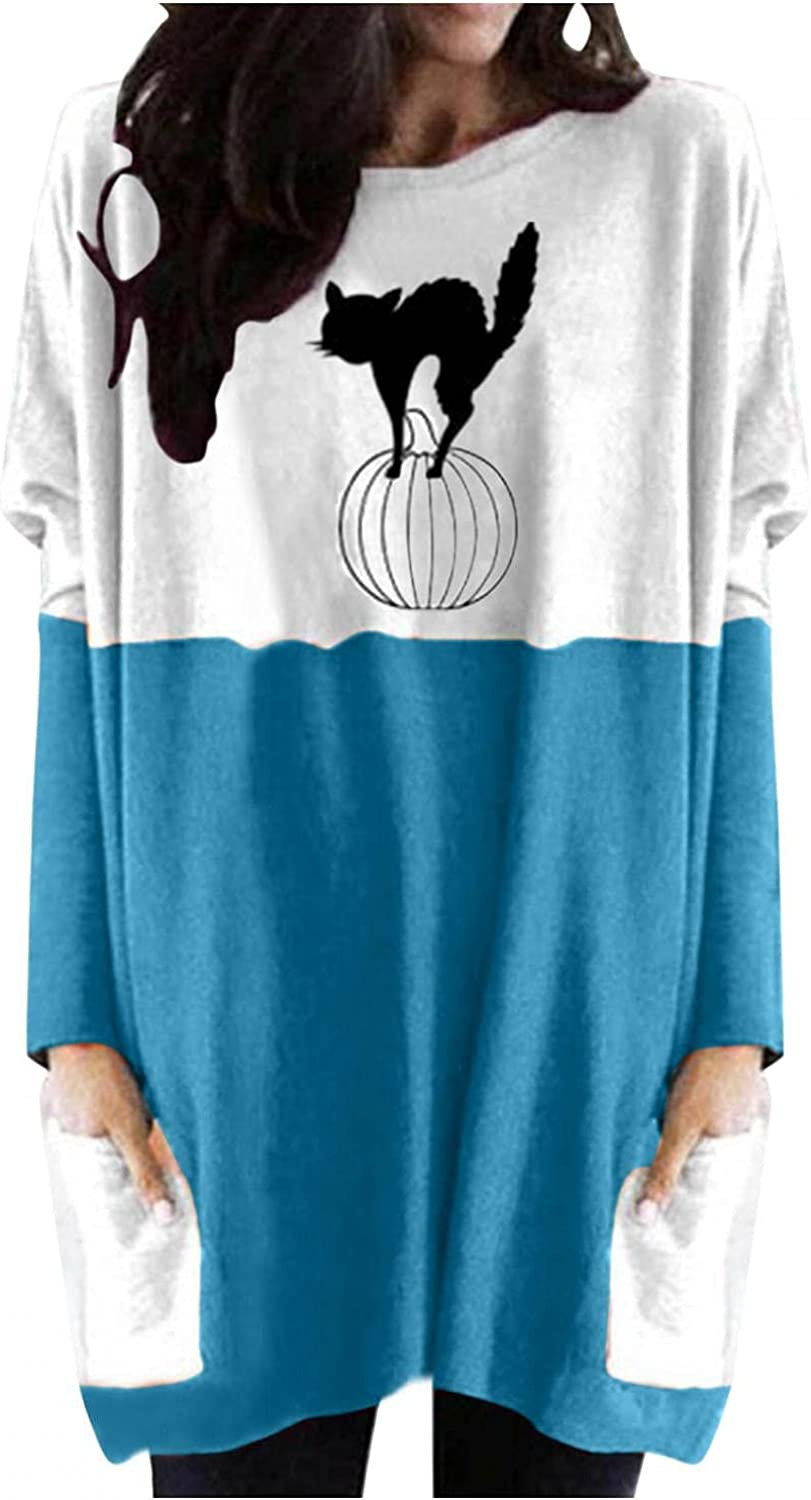 Jaqqra Halloween Sweatshirts for Women Casual Pullover with Pockets Black Cats Long Sleeve Tunic Shirts Blouse Tops