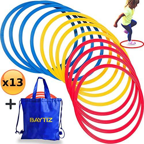 BAYTIZ   13 Reifen für Training + Tasche - Zubehör für Sport Fußballtraining Kinder Trainer Pro Fußball Gymnastik Trainingsleiter Koordinationsleiter Football Leiter Fussball Set Hula Hoop Fitness 6m