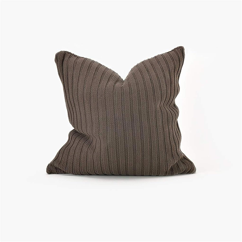 Koadian Knitting Knitting Pillow Cushion Bedside Sofa Pillow Waist Pillow 50x50cm (color   Dark Coffee)