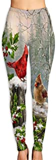 Cyloten Winter Red Yellow Birds Cardinales Yoga Pants Washable Legging Tights Quick Dry Sportswear for Women Girl Workout