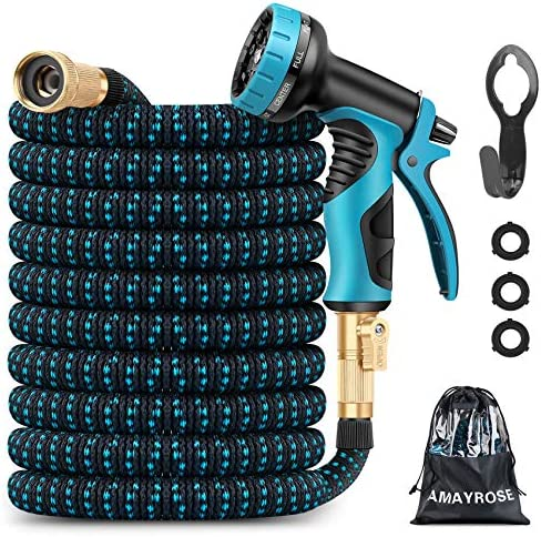 Amayrose Garden Hose Expandable Water Hose with 9 Function Spray Nozzle Leakproof Expanding product image