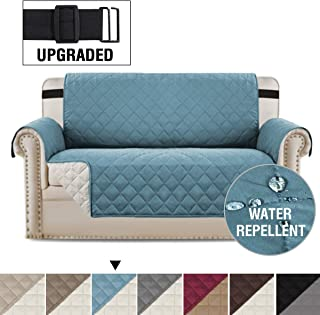 H.VERSAILTEX Loveseat Covers Loveseat Slipcover Reversible Quilted Furniture Protector with Elastic Straps Slip Resistant Furniture Cover for Dogs Seat Width Up to 46 (Loveseat, Smoke Blue/Beige)