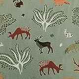 Tela de algodón por metros, verde menta, bosque, animales, ciervo, conejo, ciervo, tela de algodón, tela decorativa