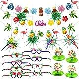 HOWAF Sommer Tropical Party Dekorationen Kit Ananas und Flamingo Girlande Banner Seidenpapier Fan...