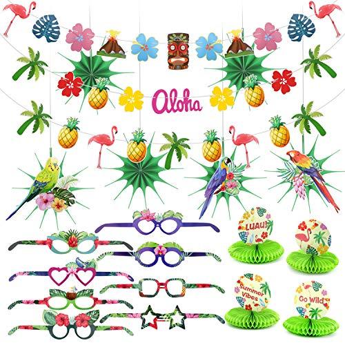 HOWAF Sommer Tropical Party Dekorationen Kit Ananas und Flamingo Girlande Banner Seidenpapier Fan und Hawaii Party deko Photo Booth