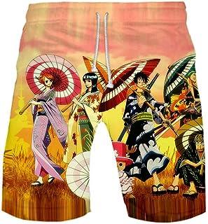 XIELH Men'S Beach Shorts, Loose Quick Dry Swim Trunks Drawstring Summer Short Pants For Men, Boys 3D Anime Print Beach Shorts