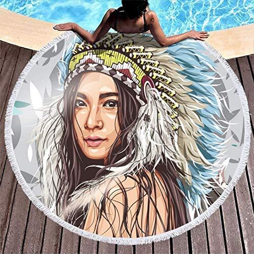 Serviettes de Plage Sexy Native Girl Feathers White Serviette de Bain Ronde surdimensionnée de Voyage Serviette de Bain Fade Proof Robes pour Le Bain/la Plage/Les Heures de Pique-Nique
