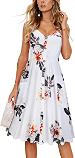 KILIG Women's Summer Dress Spaghetti Strap Button Down Sundress with Pockets