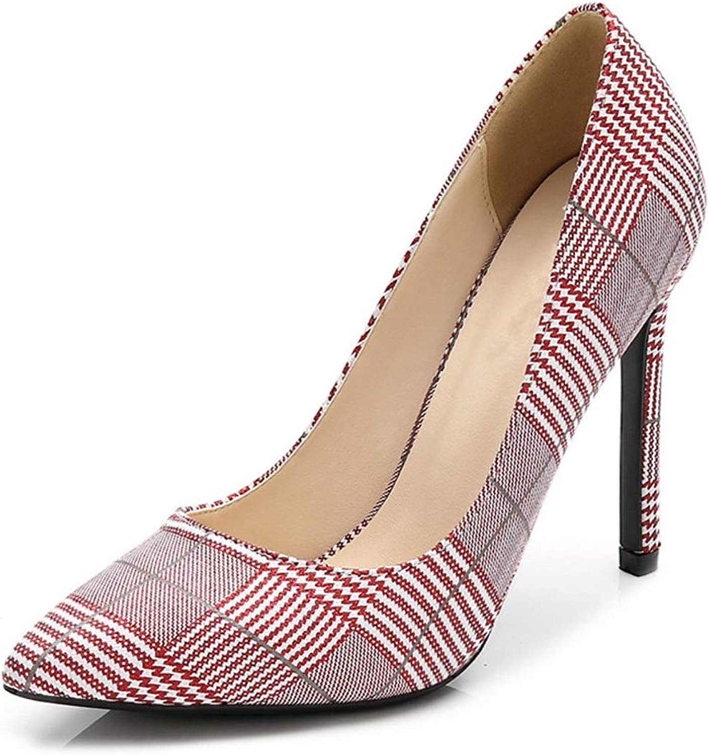Owen Moll Women Pumps, Super Thin High Heels Plaid Pointed Toe Shallow Stiletto Party shoes