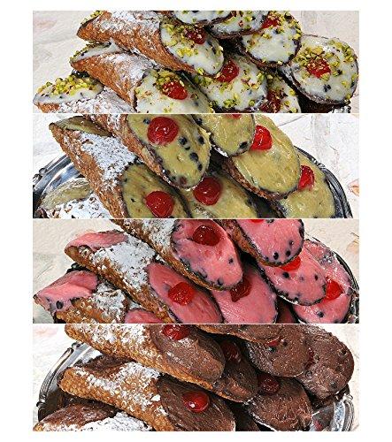 10 Cannoli Siciliani con pura ricotta di pecora ai gusti assortiti - Spedizione 24h