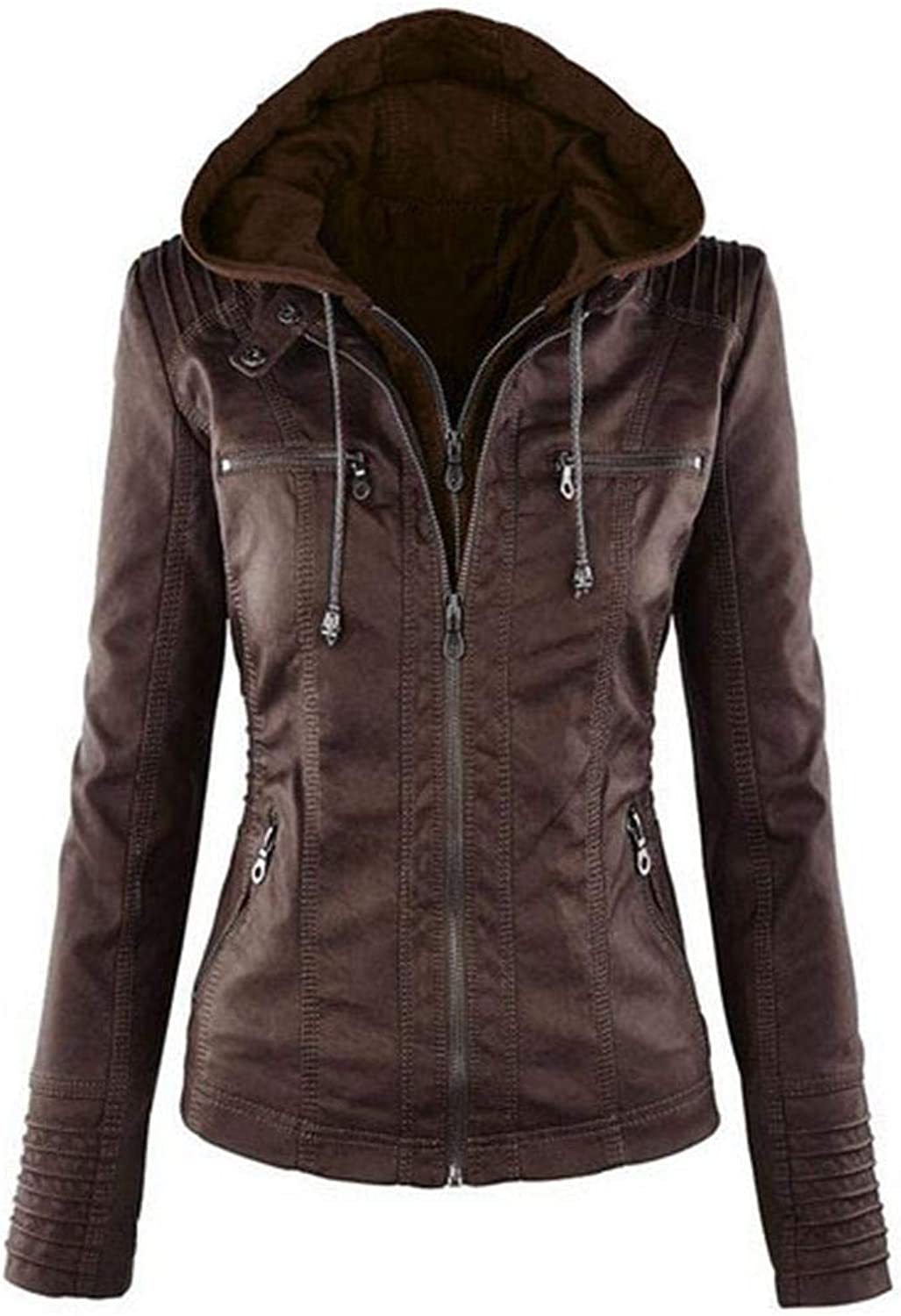 Didade Women Casual Hooded Long Sleeve Double Zip Jacket Coat Outwear Leather