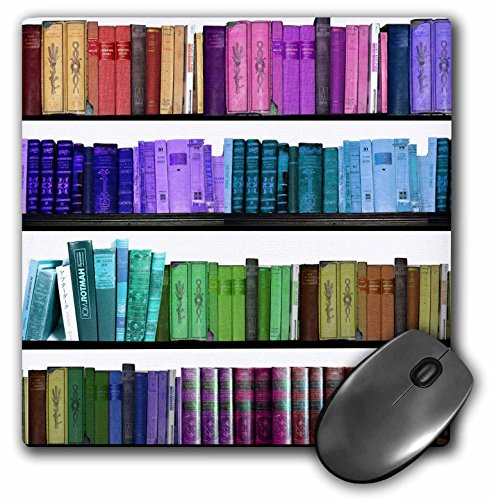 3dRose LLC 8 x 8 x 0.25 Inches Mouse Pad, Colorful Bookshelf Books Rainbow Bookshelves Reading Book Geek Library Nerd Librarian Author (mp_112957_1)