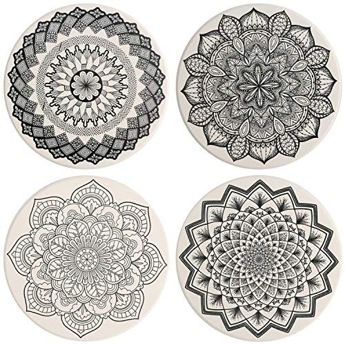 Untersetzer Keramik 4 Stück Absorbierenden Untersetzer Saugfähige mit Korkrücken für Tassen Tisch Bar Glas, Mandala Stil